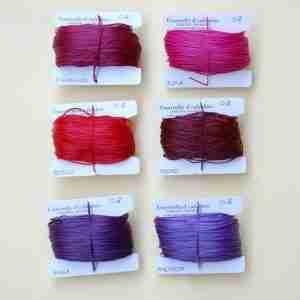 Filati tipo combi 0.8 colori ciclamino, fucsia, rosso, mosto, viola, ametista