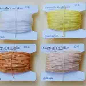 Filati tipo combi 0.6 colori bianco, canarino, oro, grano