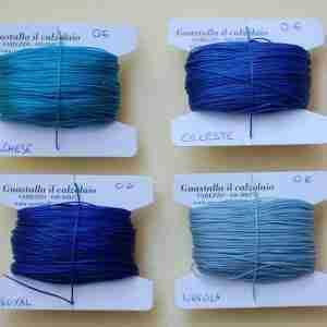 Filati tipo combi 0.6 colori turchese, celeste, royal, nuvola