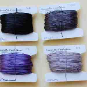 Filati tipo combi 0.6 colori nero, perla, ametista, acciaio