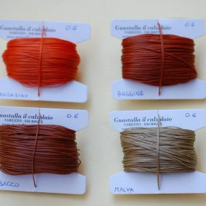 Filati tipo combi 0.6 colori mandarino, ruggine, tabacco, malva