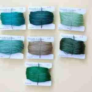 Filati tipo combi 0.8 colori malachite, acqua, mela, giada, malva, smeraldo, papaya