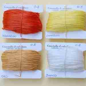 Filati tipo combi 0.8 colori mandarino, canarino, oro, bianco