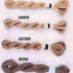 Filati color malva, canapa, castoro, bruno