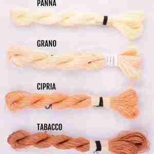 Filati color panna, grano, cipria, tabacco