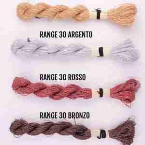 Filati color range 30 oro, range 30 argento, range 30 rosso, range 30 bronzo